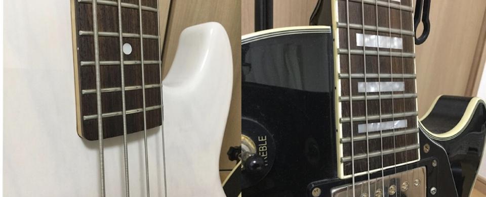 ベースとギターの弦の太さを比較